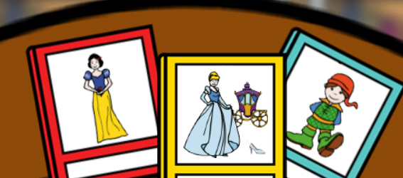 Libros de Cuentos: Cenicienta vestida para la fiesta con la carroza detrás, blancanieves y pulgarcito, sobre una mesa